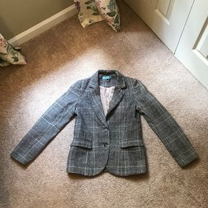 Plaid Blazer with Brown Suede Elbow Patches